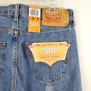 Levi's 501 Mens Blue Jeans Sz 30x34 Button Fly